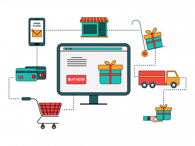 online shopping process infographic diagram flat style 1302 8263